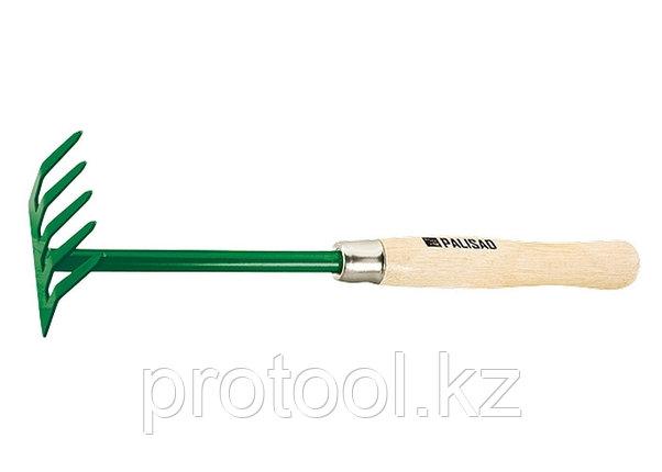 Грабли 5-зубые, 90 мм, деревянная рукоятка 340 мм// PALISAD, фото 2