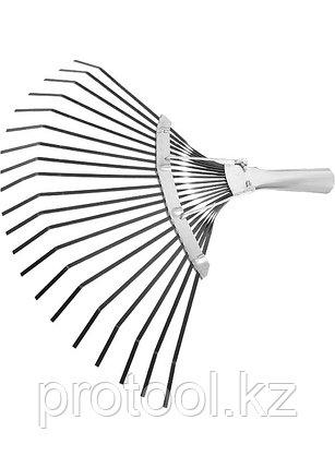 Грабли веерные 20 зубьев, без черенка, оксидированные, плоский зуб// СИБРТЕХ Россия, фото 2
