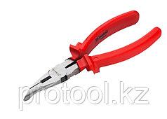 Длинногубцы Econom, 200 мм, изогнутые шлифованные, пластмассовые рукоятки// MATRIX