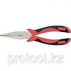 Длинногубцы GRAND, 160 мм, прямые никелированные, двухкомпонентные рукоятки// MATRIX