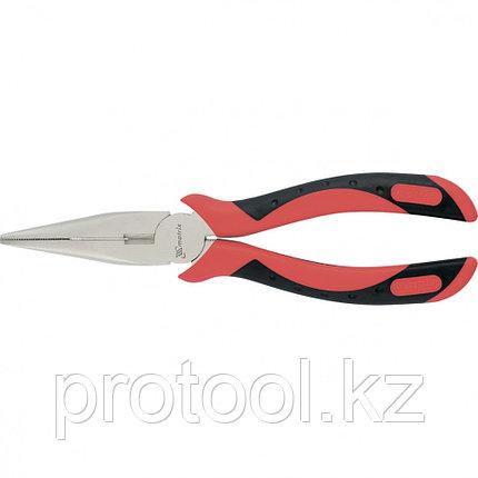 Длинногубцы GRAND, 200 мм, прямые никелированные, двухкомпонентные рукоятки// MATRIX, фото 2