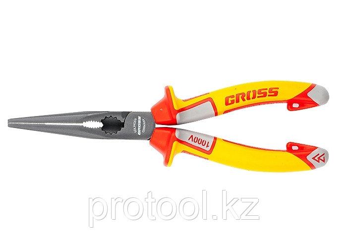 Длинногубцы прямые, диэлектрические рукоятки до 1000 В, трехкомпонентные рукоятки, 205 мм// GROSS