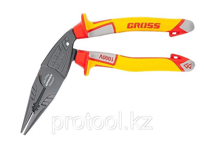 Длинногубцы с изогнутой головой, комбинированные, диэлектрические рукоятки до 1000 В, 200 мм// GROSS