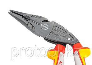 Длинногубцы с изогнутой головой, комбинированные, диэлектрические рукоятки до 1000 В, 200 мм// GROSS, фото 2
