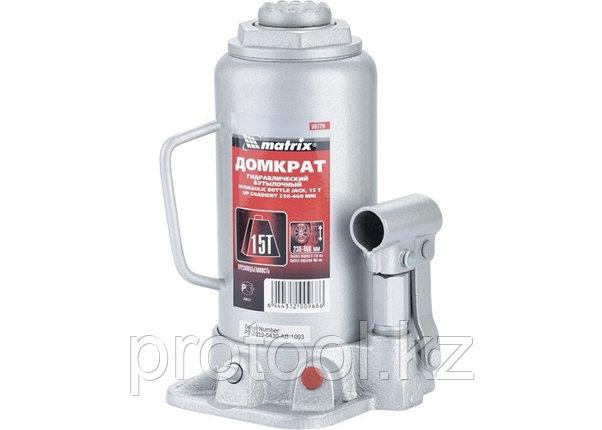 Домкрат гидравлический бутылочный, 15 т, h подъема 230–460 мм// MATRIX MASTER, фото 2