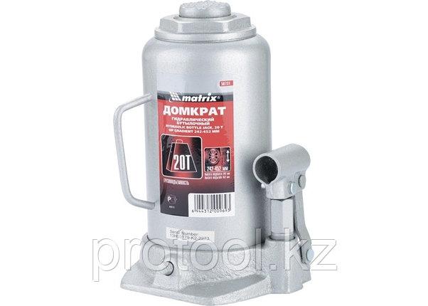 Домкрат гидравлический бутылочный, 20 т, h подъема 242–452 мм// MATRIX MASTER, фото 2