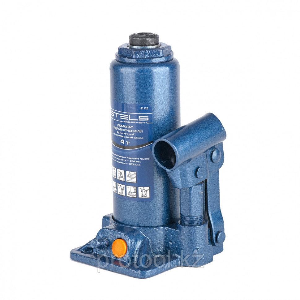 Домкрат гидравлический бутылочный, 4 т, h подъема 194–372 мм, в пласт. кейсе// STELS