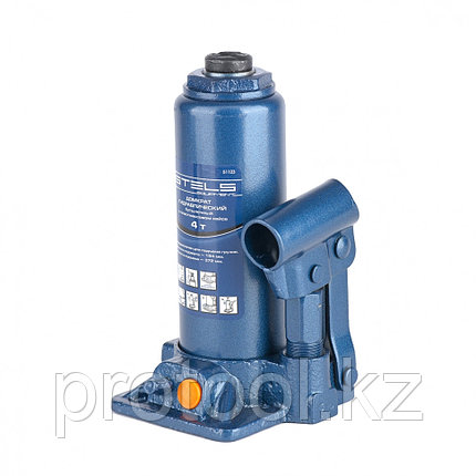 Домкрат гидравлический бутылочный, 4 т, h подъема 194–372 мм, в пласт. кейсе// STELS, фото 2