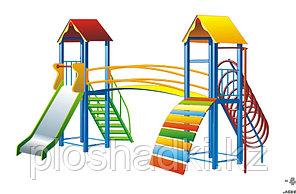 Детский городок, с горкой, лазом, лестницей, домики с крышей