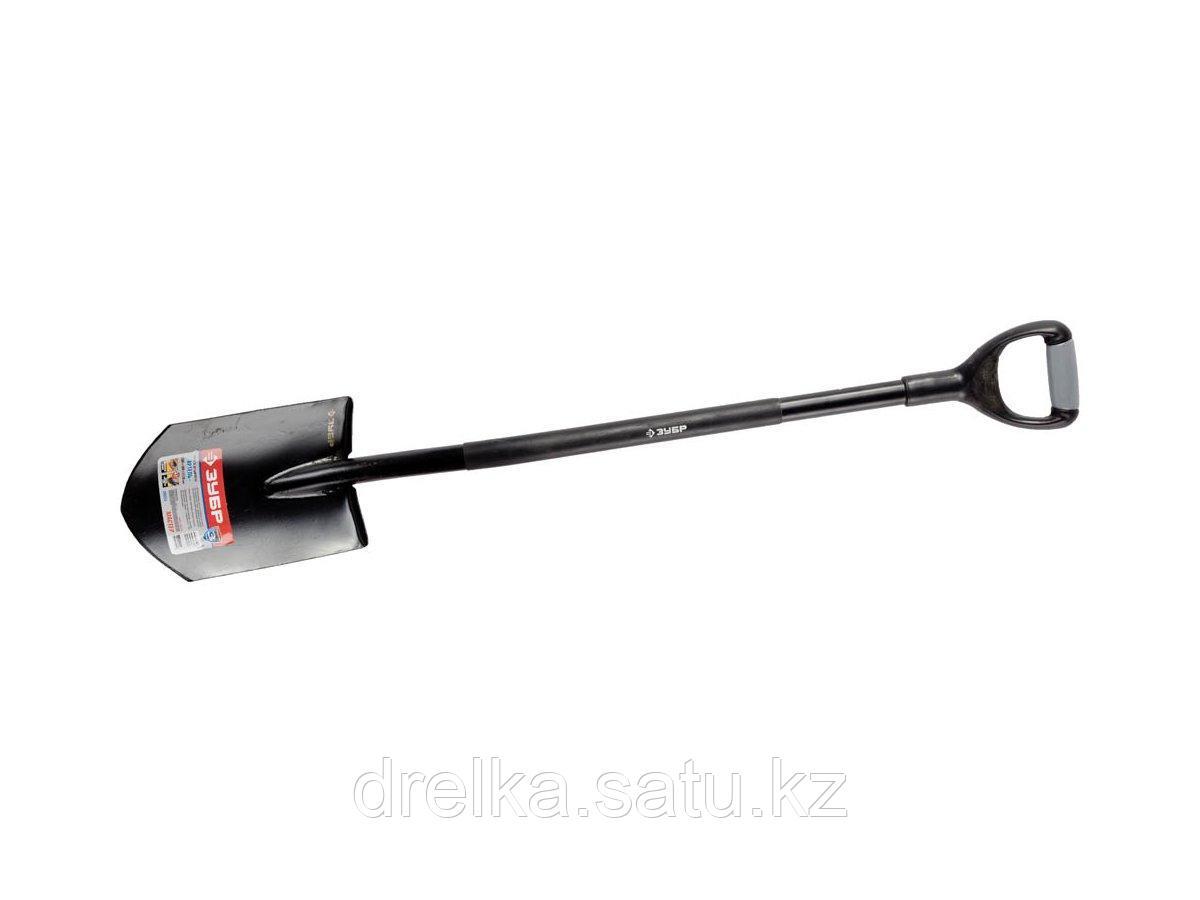 Лопата ЗУБР МАСТЕР АРТЕЛЬ штыковая, стальной черенок, двухкомпонентная рукоятка, 290x190x1170мм, 39553