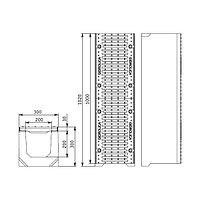 Лоток водоотводный SUPER ЛВ-20.30.30 бетонный с решеткой щелевой чугунной (комплект, фото 1
