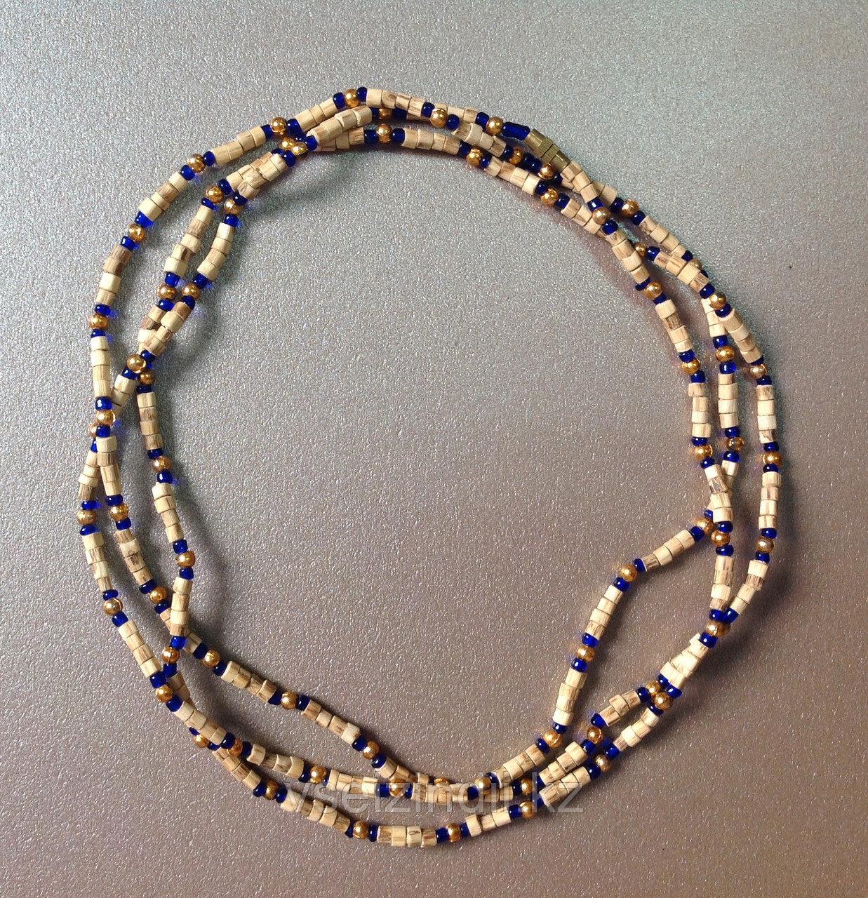 Кантхималы из туласи с бисером синие, в 3 оборота