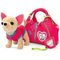Собачка Чихуахуа в розовой футболке с сумочкой, замочком и зеркальцем