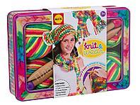 """Набор для вязания спицами """"Разноцветные шарф и шапочка"""", от 7 лет"""