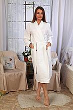 Халат женский вафельный длинный рукав, шалька.  Россия.
