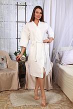 Женский белый вафельный халат - кимоно. Россия.