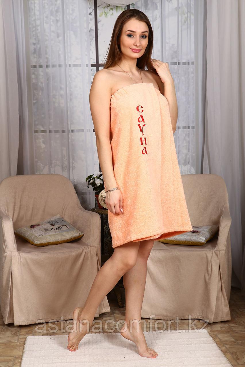 Женское парео (килт) для бани и сауны с вышивкой. Махра. Россия