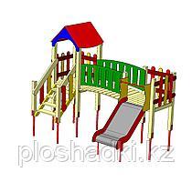 Детский городок, горка, лестница, домик с крышей