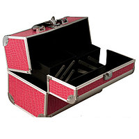 Алюминиевый кейс для косметики, цвет- розовый, лаковый крокодил, фото 1