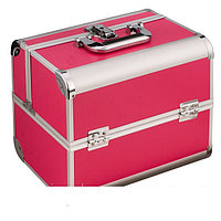 Алюминиевый кейс для косметики, цвет - малиновый, матовый, фото 1