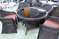 Обеденный комплект мебели из искусственного ротанга Оливия (стол + 4 кресла), фото 1