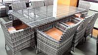 Обеденный комплект мебели из искусственного ротанга Анастасия (стол + 8 кресел), фото 1