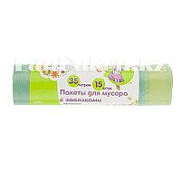 Пакеты для мусора с завязками 35 л, зеленые 15 шт ELFE 92717 (002)