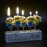 """Свечи для торта  5 штук  """"Минионы"""""""