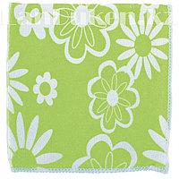 Салфетка для уборки зеленая с рисунком, из микрофибры 30х30 см ELFE 92307 (002)