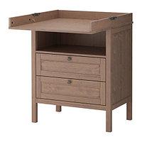 Пеленальный стол/комод СУНДВИК серо-коричневый ИКЕА, IKEA, фото 1