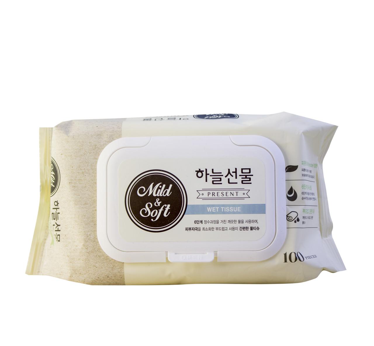 Taegwang Влажные детские антибактериальные салфетки премиум класса Mild & Soft Wet Wipes / 100 шт.