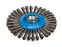 Щетка крацовка дисковая для УШМ ЗУБР, плетеные пучки стальной проволоки 0,5мм, 100мм/М14