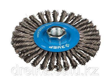 Щетка крацовка дисковая для УШМ ЗУБР, плетеные пучки стальной проволоки 0,5мм, 100мм/М14, фото 2