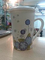 """Кружка """"Цветы"""" для чая. 360 мл. Ромашка синяя."""