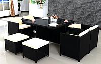 Комплект мебели из искусственного ротанга КУБ-8 (стол + 4 кресла + 4 пуфа), фото 1