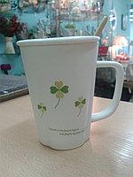 """Кружка """"Клевер"""". для кофе и чая. 320 мл. """"Клевер зеленый""""."""