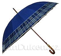 Мужской зонт трость в клетку с деревянной ручкой (синий)