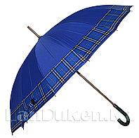 Мужской синий зонт трость, зонт в клетку с деревянной ручкой