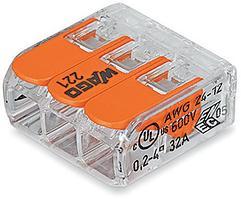 Клемма WAGO 221–413 компактная 3-проводная сечением 4 мм, с рычажком, набор 50 шт