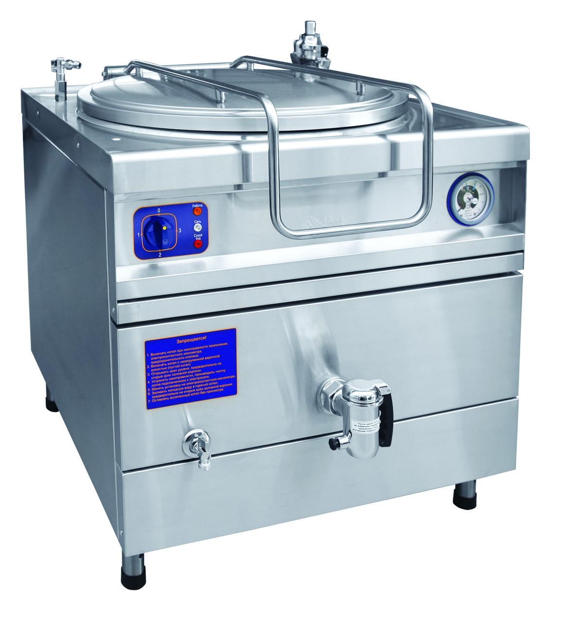 Котел пищеварочный КПЭМ-60-ОР (60 литров, 100°С, пар.рубашка, ручное опрокидывание, цельнотянутый)
