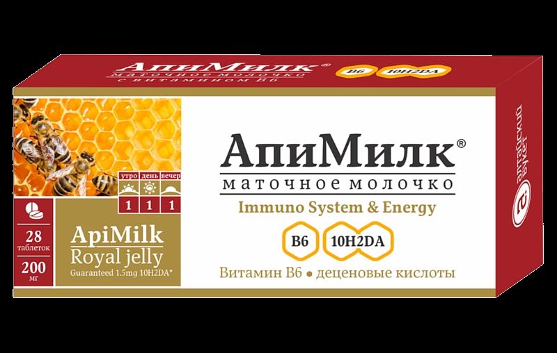 Апимилк Маточное молочко с витамином В6, 28таб