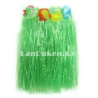 Юбка гавайская зеленая с цветами 40 см