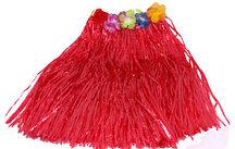 Юбка гавайская красная с цветами 40 см