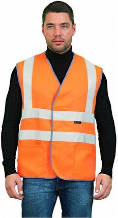 ЖИЛЕТ СИГНАЛЬНЫЙ с лентой и карманами (оранжевый), фото 2