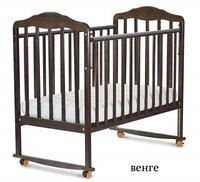 СКВ Кровать детская БЕРЕЗКА колеса качалка Венге