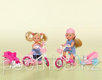 Кукла Еви на велосипеде с собачкой 12 см