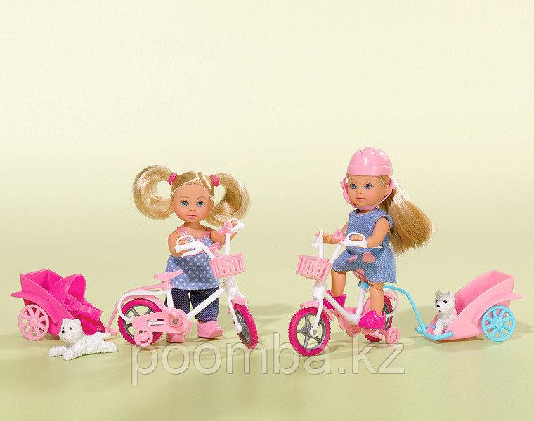 Кукла Еви на велосипеде с собачкой 12 см - фото 1
