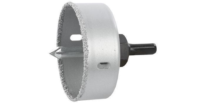 """(33360-076) Коронка-чашка ЗУБР """"ЭКСПЕРТ"""" с карбид-вольфрамовой крошкой, в сборе, высота 25мм, 76 мм"""