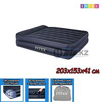 Двухспальный надувной матрас Intex 66702, размер 203х153х41, со встроенным насосом, фото 1