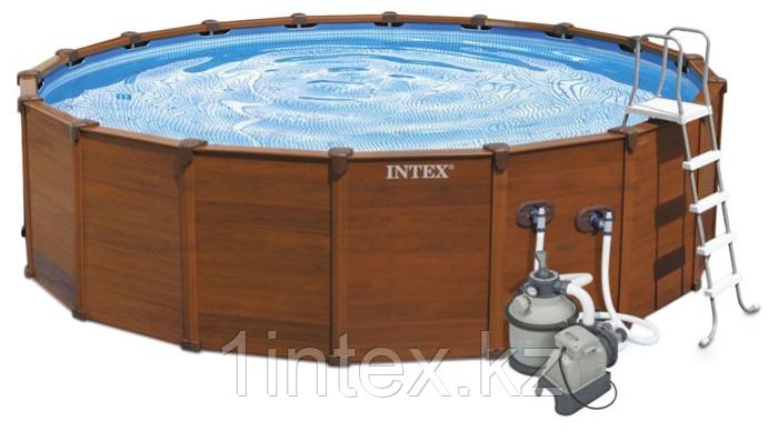 Intex Каркасный бассейн Graphite Panel 478х124 см, 16805л, песочн.фил-насос, лестница, тент, подстилка